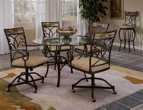 Metal Dining Room Table Sets Furniture Fascinating Design Of Dining Room Chairs With Casters Showing Modern Design Heram