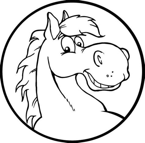 coloring page of a smiley horse face for kids coloring point
