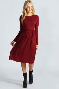 boohoo womens ladies mia long sleeve midi dress ebay