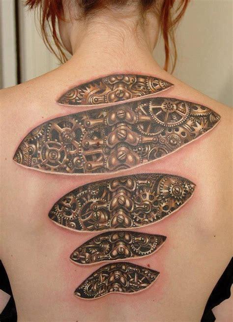 biomechanical tattoo girl biomechanical tattoo on girl back body