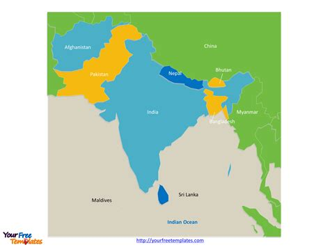 south asia map with country names free south asia editable map free powerpoint templates