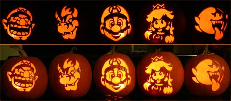 mario brothers pumpkin carving template mario brothers by johwee on deviantart