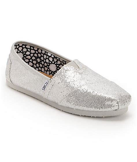 toms glitter shoes for toms classics silver glitter slip on womens shoes at