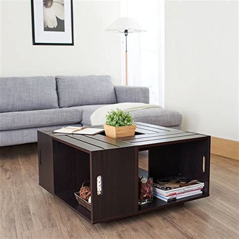 Crate Style Coffee Table Rustic Square Crate Style Wood Like Coffee Table With Open Shelf And Storage In Espresso These Coff