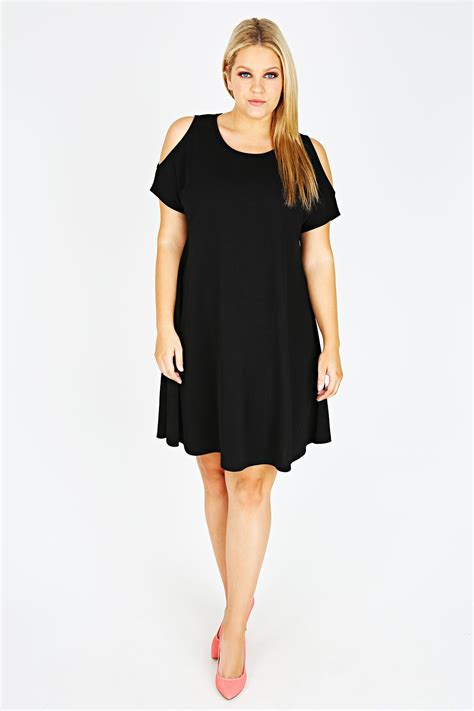 cold shoulder swing dress black cold shoulder crepe swing dress plus size 16 18 20