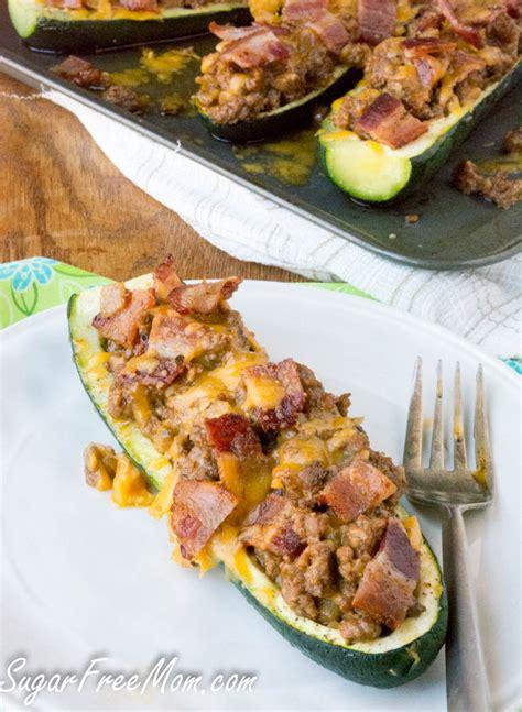 stuffed zucchini boats pinterest bacon cheeseburger low carb stuffed zucchini boats