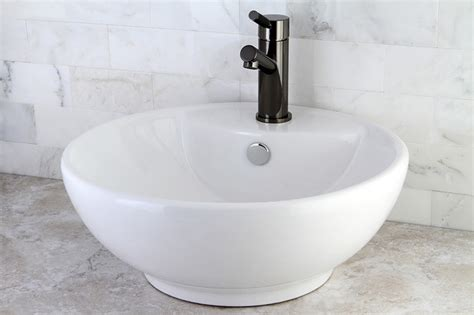 round white vitreous china vessel sink contemporary