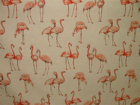 vintage upholstery fabric uk flamingos vintage linen look animal print designs curtain