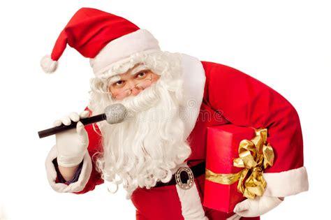 santa claus singing stock image image of celebrate