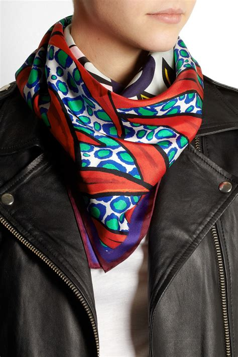 kenzo new tiger silk scarf in multicolor lyst