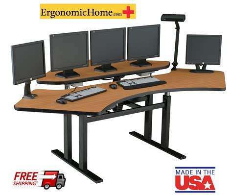 Ergonomic Computer Desk Corner Computer Desk Sit Stand Desk Room Console Command Center Furniture Houston