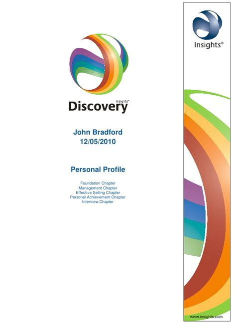 Insights Discovery Profile Mba Msm by Bradford Insights Profile