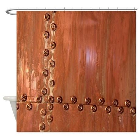 bronze shower curtain bronze rivet realism art shower curtain by admin cp26591299