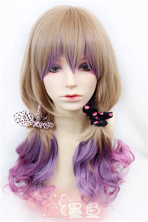 harajuku fashion gradual change curly wavy hair new wig ebay