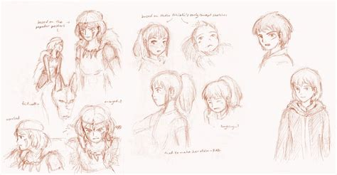 thinking sketches studio ghibli characters by