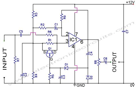 automatic gain pre lifier circuit diagram