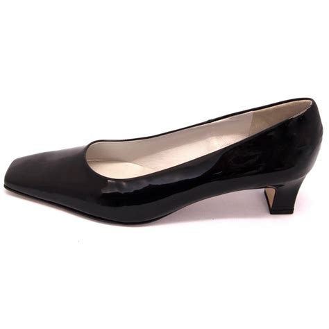 low heel shoes kaiser anina low heel court shoes in black patent