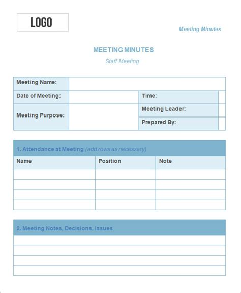 meeting notes template project meeting minutes note free