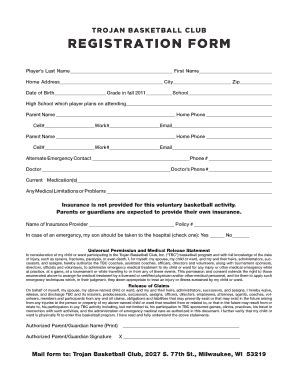 Basketball Application Form Fill Online Printable Basketball Registration Template