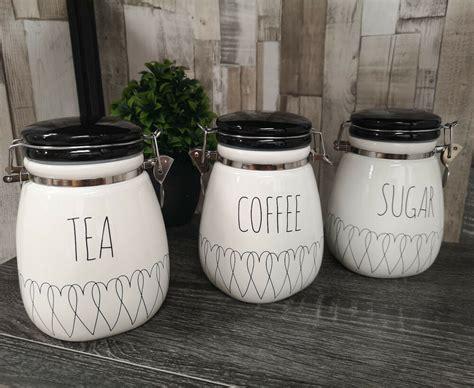 heartlines tea coffee sugar canisters kitchen storage