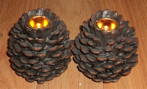 pine cone tea light holder pine cone candle holders candles lights