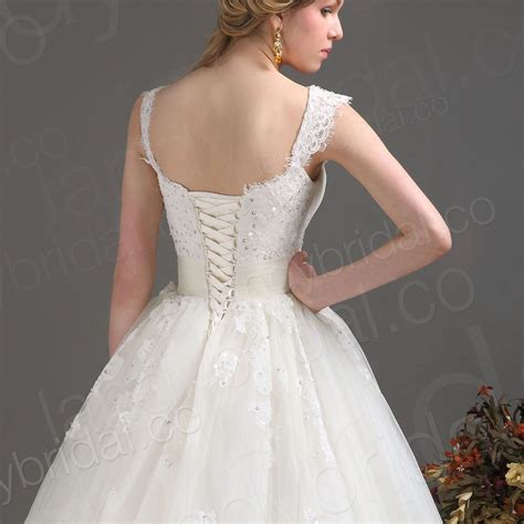 Korset Line Korset lace corset a line wedding dress with spaghetti
