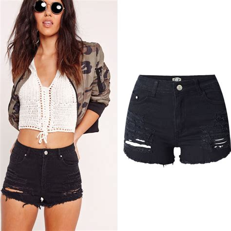Silet 4 Ripped Black Stretch uk womens high waisted black stretch ripped denim shorts ebay