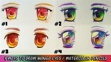 tutorial watercolor manga how to use watercolor pencils draw moe manga anime eyes