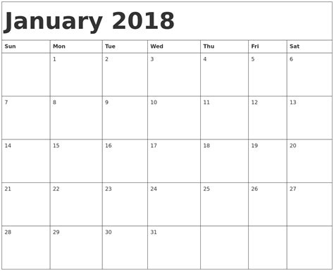 printable january schedule january 2018 printable calendar 2018 calendar printable