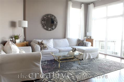 gray living room the creative imperative house tour purple and gray