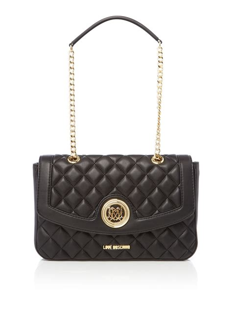 Moschino Bag moschino superquilt black flapover shoulder bag in