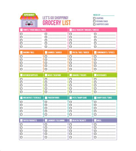 supermarket shopping list template grocery list template 8 free sle exle format
