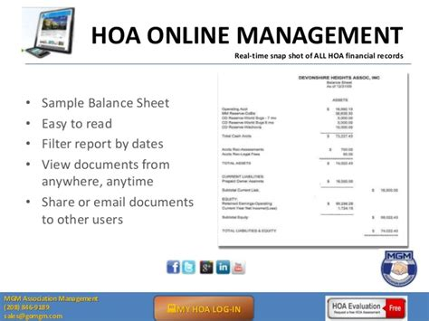Using Online Software To Manage Homeowner Associations Hoa Balance Sheet Template