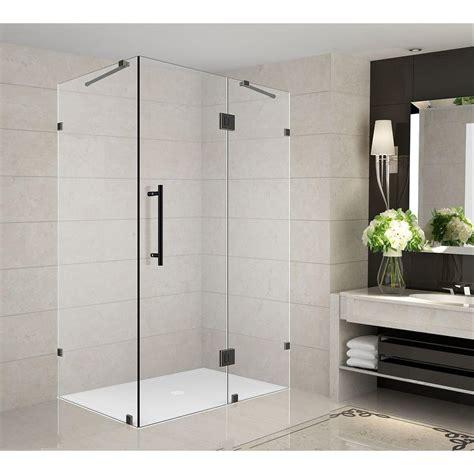 36 Glass Shower Door Delta 36 In X 36 In X 76 In 3 Corner Frameless Shower Enclosure In Stainless B912912