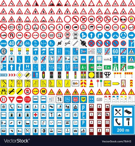 printable european road signs european road signs royalty free vector image vectorstock