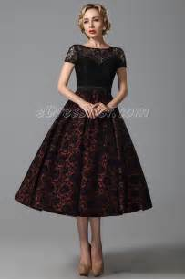 2015 new vintage short lace sleeves tea length cocktail