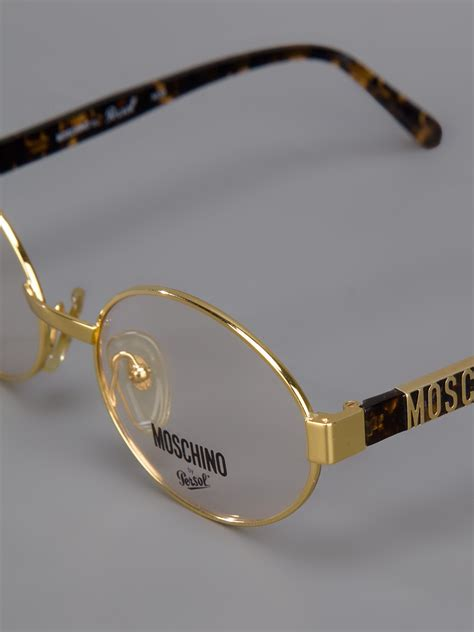 Versace Circle Rosegold lyst moschino frame glasses in metallic