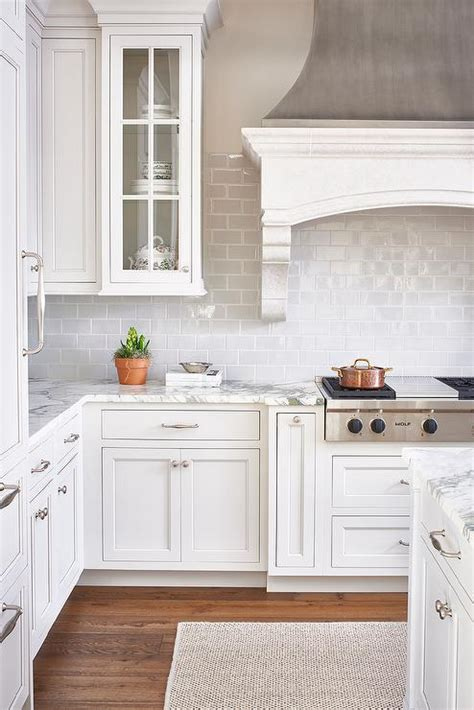 light grey subway tile kitchen white and gray kitchen with light gray mini subway tiles