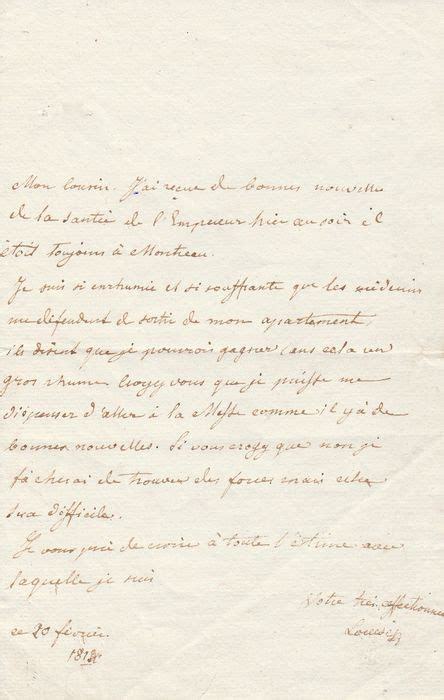 Mprees Letters napoleon i louise of austria 1791 1847 empress of the autographed letter
