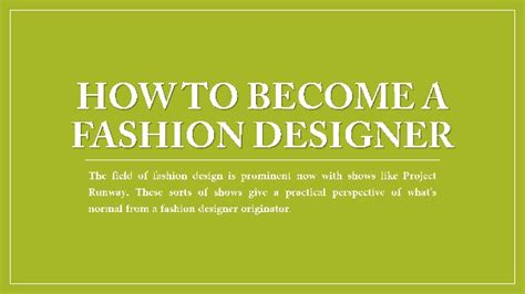 how to become a fashion designer