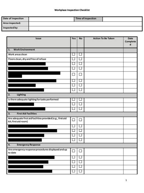 workplace safety inspection checklist template hr advance workplace inspection checklist