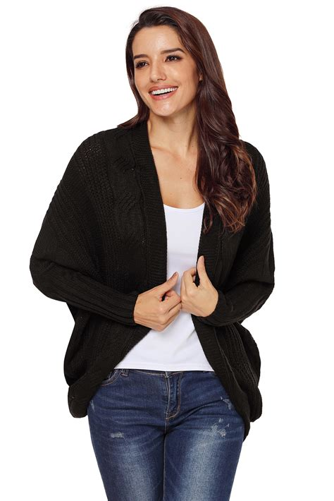 Cable Knit Open Front Cardigan us 13 8 black luxe cable knit open front cardigan