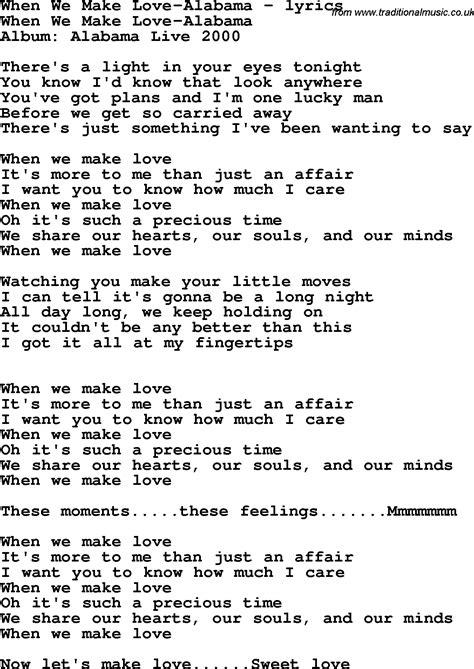 when we have love lyrics love song lyrics for when we make love alabama