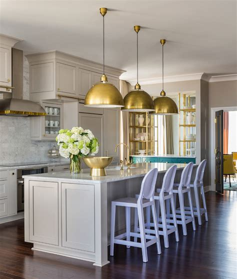 home decor trend a touch of gorgeous gold stencil light gray kitchen cabinets contemporary kitchen