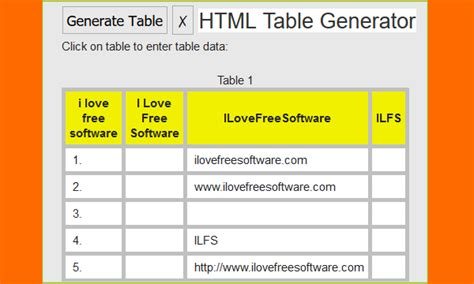 html generate table 10 free html table generator websites