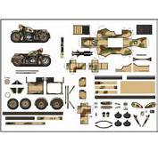 PAPERMAU WW2`s Motorcycle BMW R 75 Paper Model In 1/100 Scale  By
