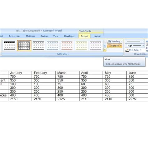 Change Table Style Word 2007 How To Format And Design A Table In Microsoft Word 2007 Make Tables More Visually Appealing