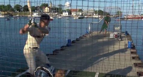 college league held their home run derby on a dock in lake