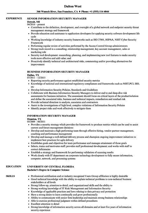 security manager resume format information security manager resume sles velvet