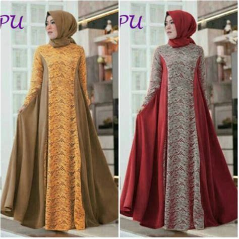 Dress Brukat Kombinasi Batik model baju muslim modern kombinasi brokat b135 https